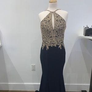 Xscape Long ITY Gold Embroidery Halter Navy